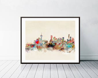 vancouver city skyline . vancouver canada cityscape. colorful watercolor skyline.Giclee art print.color your world with bri.