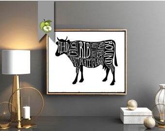 Beef, cow, Butcher Diagram, kitchen Printable, Kitchen Print, Butcher Chart, Kitchen Art, Butcher Diagram, Butcher Prints, Cuts of Meat, BC1