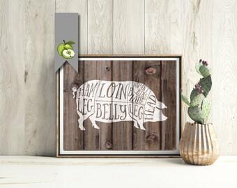 Pig, pork, Butcher Diagram, wood, kitchen Printable, Kitchen Print, Butcher Chart, Art, Butcher Diagram, Butcher Prints, Cuts of Meat, BC2