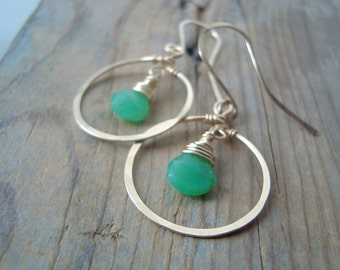 Small Gold Hoop Earrings With Green Chalcedony Minimalist Modern Simple Gifts Under 40 Gold Filled Metalwork Gifts For Her Everyday Earrings