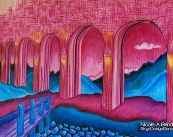 Colorful Surreal Bridge, 18x24 Original, Colored Pencil on Paper