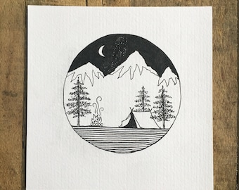 Camping Print, Adventure Art, Pen and Ink Drawing