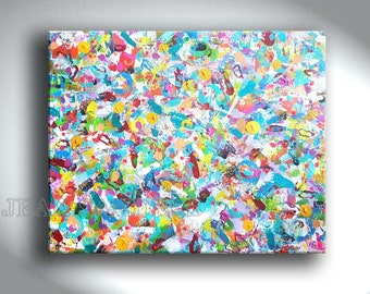 "40"" x 31"" abstract modern colorful art painting by Jean Sanders - stretched on wooden frame"