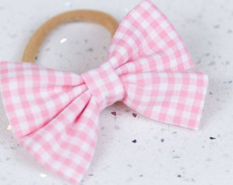 Pink Gingham Bow & Bow tie