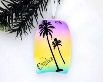 FREE SHIPPING Boogie Board Personalized Christmas Ornament / Palm Trees / Beach Ornament / Vacation Ornament / Seashore / Summer Vacation