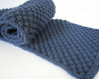 Hand Knitted Scarf, Smokey Blue  9 inch wide Scarf, Acrylic Neck Warmer, 45 inch long Wrap