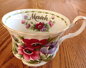 Cup only Royal Albert Flower of the Month, March 'Anemones