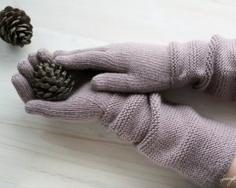 Hand knit woman gloves with long cuff