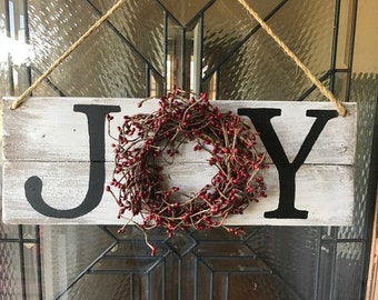 Rustic Reclaimed Pallet Wood Distressed Joy Wreath Sign for Christmas Door Holidays