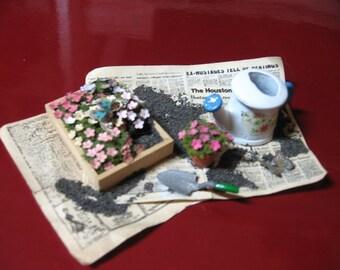 Reserved for Karen---Dollhouse, miniatures, mini, gardening, flowers, watering can, spade, vingnette, vintage, hand made   (Bed of Pansies)