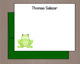 Personalized Note Card Set, Flat Note Cards, Personalized Stationery, Personalized Stationary, Thank You Notes, Frog Note Cards