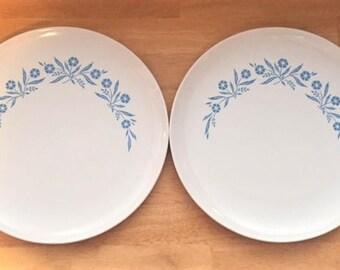 "Corning Ware Centura Cornflower two 10"" dinner plates"