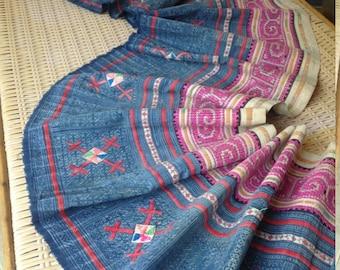 Vintage Ethnic Hmong Indigo Batik Tribal Textile Rare Handmade Cross stitch Craft supplies