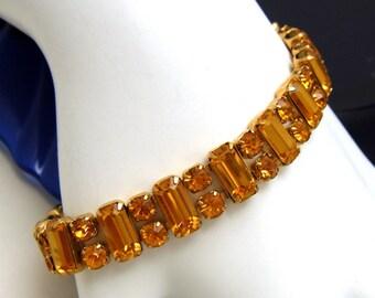 Vintage Weiss Bracelet Topaz Rhinestone Baguette Ribbon