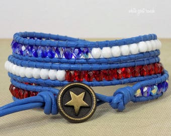 Leather Bracelet, Red White and Blue, American, Flag, Star Jewelry, Boho, Beaded, USA, Independence day