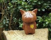 Carved Heart Tree Cat Unique Handmade figure. SALE!