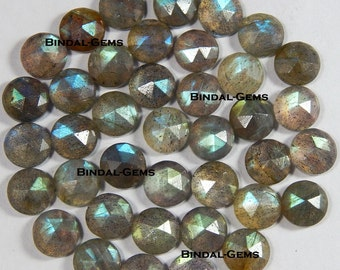 15 Pieces Lot Natural Flashy Labradorite Round Shape Rose Cut Calibrated Gemstone