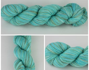 Spark Sock - Hand painted yarn {Glacier Bay} hand dyed sock yarn, sock yarn, sparkle yarn, aqua blue yarn, ice blue yarn, olive variegated