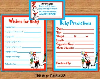 Dr Seuss Cat In The Hat Baby Shower Prediction, Well Wishes & Diaper Raffle Cards *INSTANT DOWNLOAD*