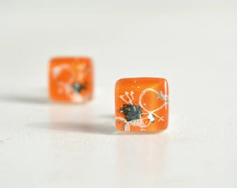 Cute earrings, Mermaid stud earrings, Orange stud earrings, Handmade jewelry, Ocean jewelry, Orange earrings, Art jewelry, Unique earrings