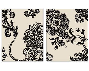French Country Stylized Floral Wall Art, Black Motif Cream Background, 11x14 Matted Print Set of 2, Series 1, Matching Prints Available
