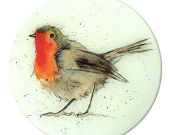 Robin Glass Worktop Saver - Country Kitchen, Bird Gift, Woodland
