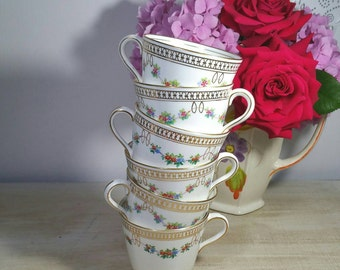 1905-1925 Antique Aynsley set of 6 Tea Cups. Punch cups. Vintage floral tea cups.