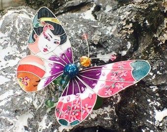 Geisha butterfly hair clip