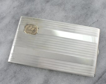Vintage Sterling Silver and Gold Cigarette Case 9HKTYY-R