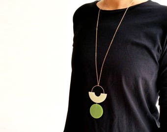 SHAPES PLAY NECKLACE | green necklace, hexagon, statement necklace, minimalist necklace, geometric jewelry, long necklace, modern, minimal |