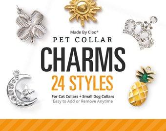 Cat Collar Charm / Small Pet Charm / Small Collar Charm / Cat Collar Accessory - (24 Styles / Rhinestone, Moon, Pineapple, Crown, Space ...)