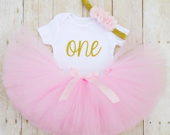 Pink and Gold Birthday Girl Outfit...First Birthday Girl Outfit...1st Birthday Outfit Girl...Cake Smash Outfit Girl...Pink Tutu...Baby Girl