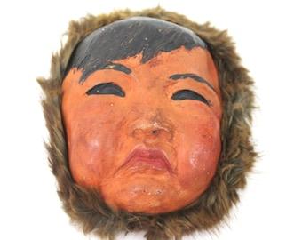 Vintage Alaskan Hand Made Chalkware Fur Eskimo Inuit Mask / Wall Decor