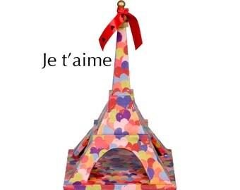 "Eiffel Tower - ""Je T'Aime"" - Decoupaged hearts on balsa wood - Mixed media art piece"