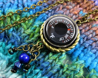 Temperature Necklace - Color Changing - Thermometer with Mood Beads - Bronze