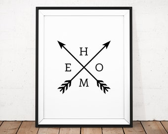 HOME Typography Print, Arrows Home Print, Black Arrow Wall Art, Black and white Poster, Modern Printable, Simple Home Decor, Home Wall Print