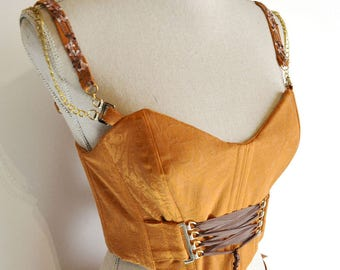 Top bohemian orange burlesque corset