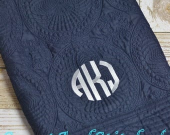 Monogrammed quilt Navy, Quilt, monogrammed Baby quilt, Personalized Quilt with gray monogram, heirloom baby quilt, baby shower gift