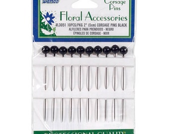 Corsage Pins - 2in. - 10/Pkg - Black (darvl3051)