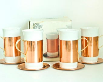 Vintage Baker Hart & Stuart Copper Ceramic Coffee Mugs with Solid Copper Saucers, New in Box