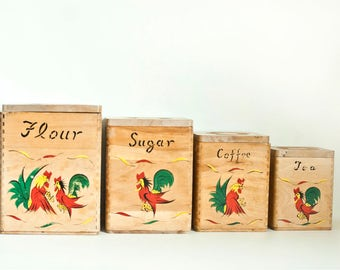 Vintage Wood Rooster Kitchen Canisters, Hand Painted Chicken Print Canister Set, Flour Sugar Tea Coffee