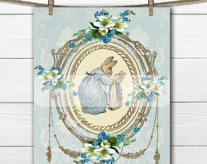 Digital Shabby Chic Peter Rabitt, Printable Beatrix Potter, Easter Pillow Transfer Graphic, Instant Download