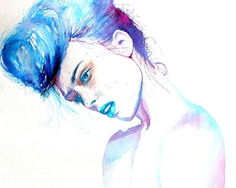 Original Watercolor Painting. Portrait painting of a beautiful young  blue girl. Portrait of a girl.