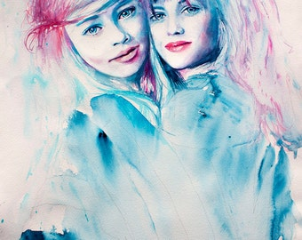 Original Watercolor Painting -Another Part of Me .Portrait of friends. Girls just want to have fun.