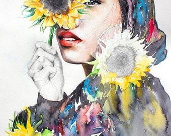 Watercolor Print. Wall art portrait of beautiful girl. Digital print. Sunflowers