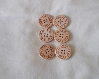 6 new 3cm wooden engraved ugg buttons