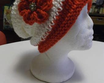 Pretty Red/White Handmade Knitted/Crochet Slouch Hat And Fingerless Gloves