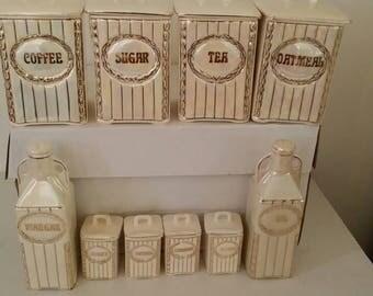Vintage  10 Pcs  Porcelain  Canister Set  From Czechoslovakia