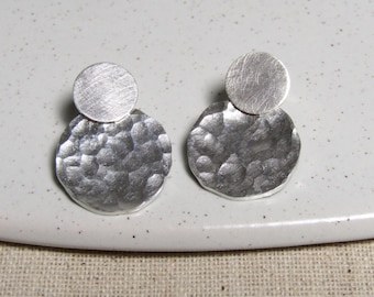 Silver Hammered Disc Earrings, Big Silver Studs, Handmade Silver Earrings, Statement Silver Earrings, Large Silver Studs, Disc Earrings
