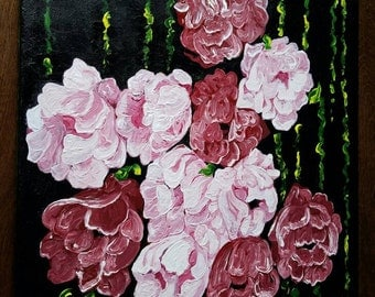 Dreamy Garden bohemian floral abstract roses painting by Pamela Henry reds pinks country chic green wall decor contemporary art